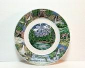 Vintage porcelain souvenir cabinet plate Yosemite National Park, scenes of Half Dome, Vernal, Nevada, Bridalveil Falls, Wawona Sequoia Tree