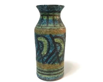 Vintage Italian Pottery RAYMOR Alvino Bagni style lava glaze VASE Mid Century Made in Italy
