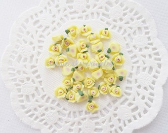 10pcs - Small Ceramic Tea Time Lemon Yellow Rose Decoden Cabochon (8mm) FL10021