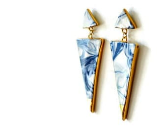 Warrior - Blue marbled triangle earrings - porcelain statement jewelry - porcelain dangle earrings