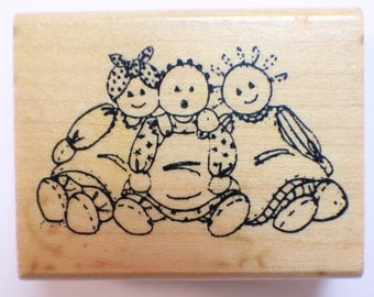 Art Impressions Little Girl Rag Dolls Wooden Rubber Stamp