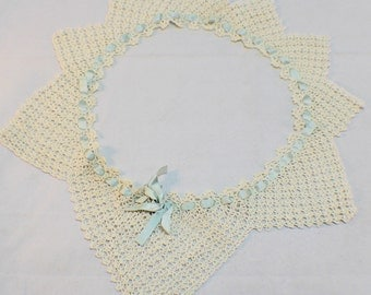 Lace  embroidered full circle Crochette collar with a woven ribbon