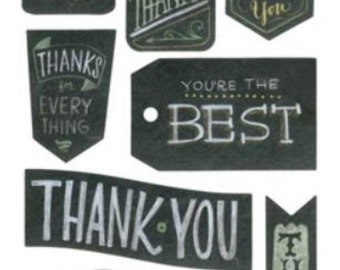 Thanks Thank You Set Chalkboard Stickers Cardmaking & Scrapbooking