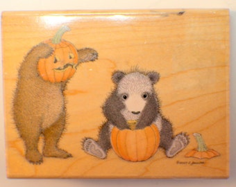 Halloween Bears playing with Pumpkins, Stampabilities Punkin Head Rubber Stamp
