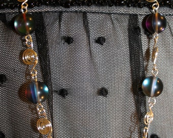 Amazing Aura Beads and Silver Spirals Necklace