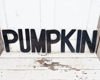 "Vintage Pumpkin Marquee Letters Word Sign 9"" Plastic Black Clear Acrylic Wall Window Spelling Halloween Fall Party Decoration"
