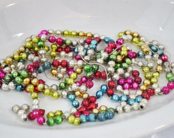 Vintage Multi Colored Glass Bead Garland Pieces Loose Double Beads Broken Strand Pink Green Aqua Gold Silver Crafts Repurpose 1950's