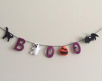 Felt Halloween garland, Boo garland, halloween decor, fall decor