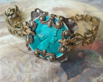 Vintage French Enamel Rare Coin Upcycled Filigree Bracelet
