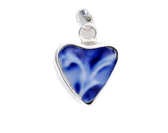 Broken China Jewelry Wedgwood Flow Flo Blue Sterling Silver Charm