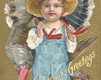 Thanksgiving Greetings Boy with Turkey Embossed Vintage Postcard
