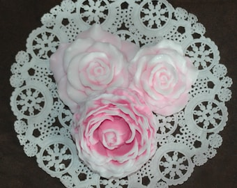 Pink Roses Soap Set ~  Pink Rose Soap Gift Set Scented in Orchid and Pink Amber Fragrance  ~ Full Blooming Rose Soap ~ Traditional Rose Soap