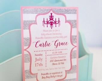 Pink Chandelier & Silver Glitter Baby Shower Invitation