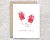 Cute Valentine Card - I'm Smitten with You - Punny Funny Valentine Card, Valentine Mittens, Red Pink or Aqua Blue White Hearts