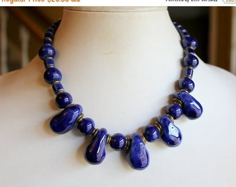 MOVING SALE Half Off Stunning Unique Royal Blue Glazed Ceramic Porcelain and Brass Tribal Bib Statement  Necklace