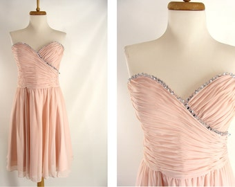 As-Is Pink Blush Mori Lee Short Strapless Ruched Jeweled Homecoming Dress or Customizable Zombie Costume OPTIONAL BLOOD size S Small 3 4 5 6
