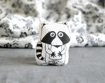 Animal pillow with RACCOON Stuffed pillow Mini pillow Decorative pillow Nursery decor Illustrated cushion Black white Scandinavian style