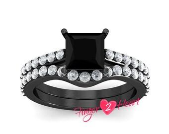 Unique Engagement Ring Set 925 Sterling Silver Ring Band 2.20 Ct Black Princess Cut Wedding Ring Set 10K White Gold Finish Promise Ring Set