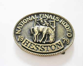 Hesston Company Belt Buckle National Finals Rodeo 1979. free US shipping - FL