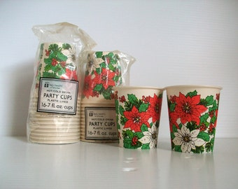 vintage punch cups for Christmas . vintage poinsettia cups . vintage Christmas party cups . Tuttle Press cups for parties vintage paper cups