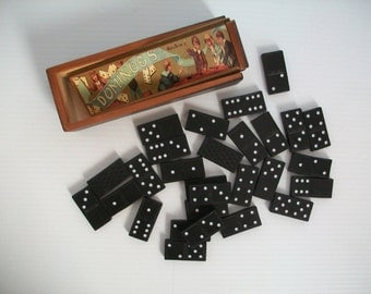 vintage domino set | pioneer wooden dominoes | games for children | games for math and strategy | vintage toys | wooden game pieces