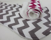 chevron burpies set of two in your chevron color choice reverse side is absorbent terry cloth color choice. baby shower gift burp cloth.