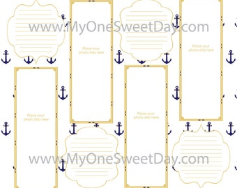 2x6 Photo Booth Guest Book Scrap Book Downloadable 12x12 Pages Gold/Navy Anchor