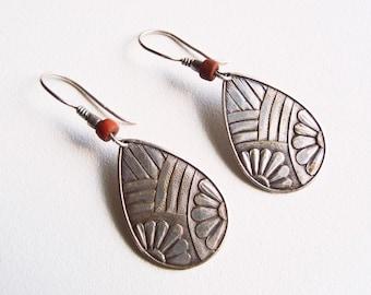 1960s Boho Look Earrings Vintage Dangle Floral Design Silver Tone Alloy Teardrop Shapes Embossed Detail on Hook Wires w/ Reddish Clay Bead