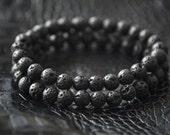 Mens Black Lava Bracelet Mens Bracelet Mens Beaded Bracelet Beach Bracelet Mens Jewelry Mens Gift for Men Bracelet Gift for Him