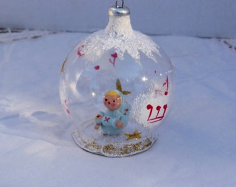 vintage Italian glass  Christmas ornament,  diorama, 3D angel, figural ball ornament, blue red gold,