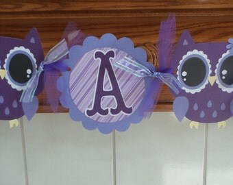 Owl Its A Girl Baby Shower Banner, Owl Banner, Purple and lavender owl banner, Gender Reveal Banner, Matching Pom Poms Are Available