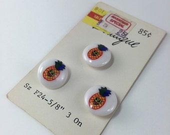Reserved Vintage Smiley Pineapple Buttons