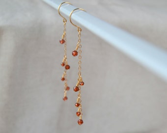 Red Garnet *14kgf earrings handmade jewelry