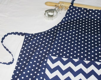 Navy and White Polka Dots 'n Chevron Adult Apron
