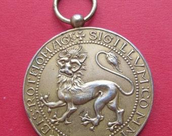On Sale Antique Norman Lion Pendant Art Nouveau Mistletoe French Silver Art Medal Dated 1911   SS424