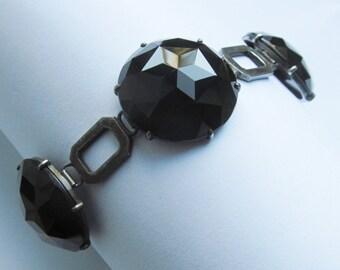 Antique Sterling Silver Black Onyx Mourning Bracelet By Hedblom Sweden Dated 1892