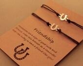 Horseshoe Charm Bracelets: Set of 2 Horseshoe Best Friend Bracelets, Friendship Bracelets, Best Friends, Wish Jewelry, Wish Bracelets, Horse