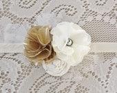 White and Gold Flower Headband