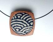 Wooden Brooch / Pendant - Japanese style stunning textured fabric and Mahogany - Indigo Blue and Cream