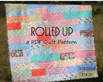 Fat Quarters Quilt Pattern Rolled Up Moda Dessert Roll Striped Easy Throw Pattern Quick Simple Instant Upload PDF File Quilting Sewing