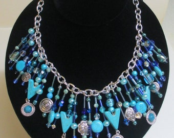 Beaded Statement Necklace Blue Aqua Dangling Turquoise Pearls Silver Tone