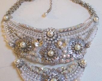 White Pearl Statement Bib Necklace Silver Bridal
