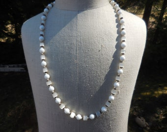 Vintage Gold Tone White Glass Long Necklace Frosted Looking Beads 1950s to 1960s