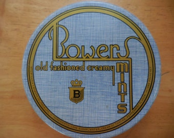 Vintage Light Blue and Gold Art Deco Style Tin Round Bowers Old Fashioned Creamy Mints Retro One Pound