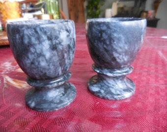 Vintage Black/Gray/Grey Marble Egg Coddler Set of Two Pair Short Stubby Kitchen
