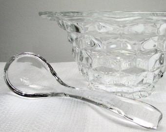Clear Fostoria: Mid-Century Glass Condiment Bowl and Glass Spoon Serving Set