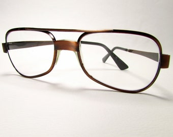 "Brushed Antiqued Copper: Vintage Artoptic ""Partner"" Aviator-Style Eyeglass Frames - Made in Italy"