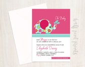 Flowered & Pink Custom Baby Shower Invitation