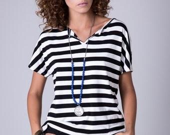 Stripe tee black white stripe shirt French striped shirt breton stripe stripe women shirt