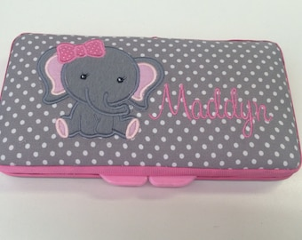 Personalized Baby Girl Elephant Wipe Case